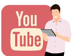ragazzo con tablet che guarda youtube illustrazione